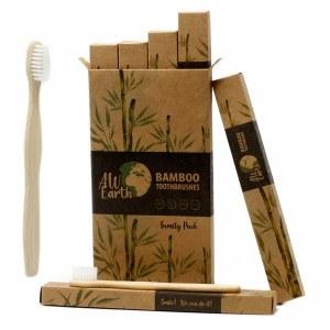 pack famille de 4 brosses à dents en bambou